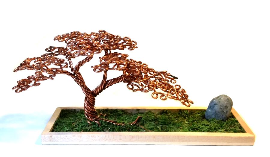 Offset Copper Wire Bonsai Tree by angelhitsground