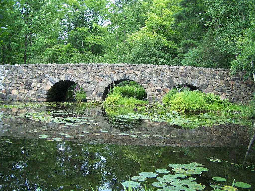 Stone bridge over small pond by hermit stock on deviantart for Garden pond bridge