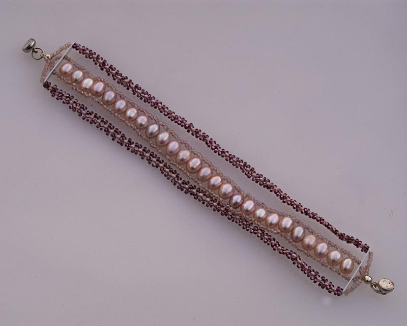 Three strand bearl bracelet B241 by Fleur-de-Irk