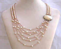 Asymmetric necklace with white pearls N1392 by Fleur-de-Irk
