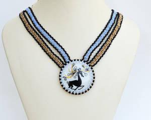 Deer porcelain cab necklace N1508