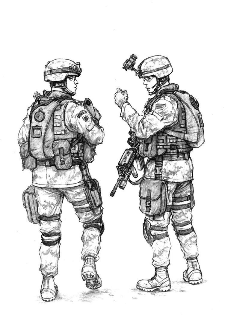 Red skies 'troops on Patrol' by Edwardhornet