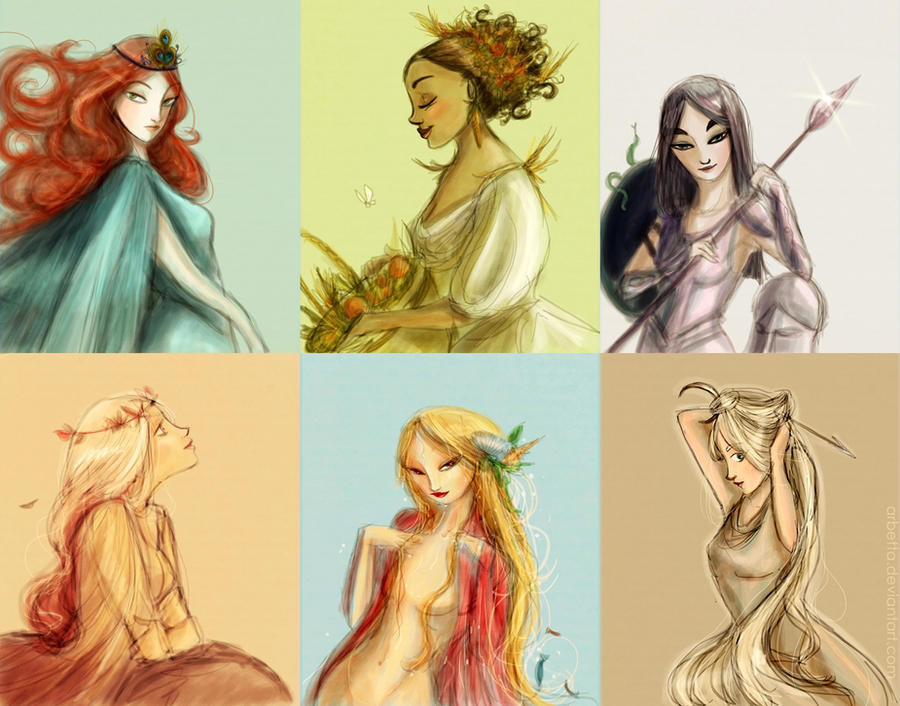Greek goddesses by Arbetta