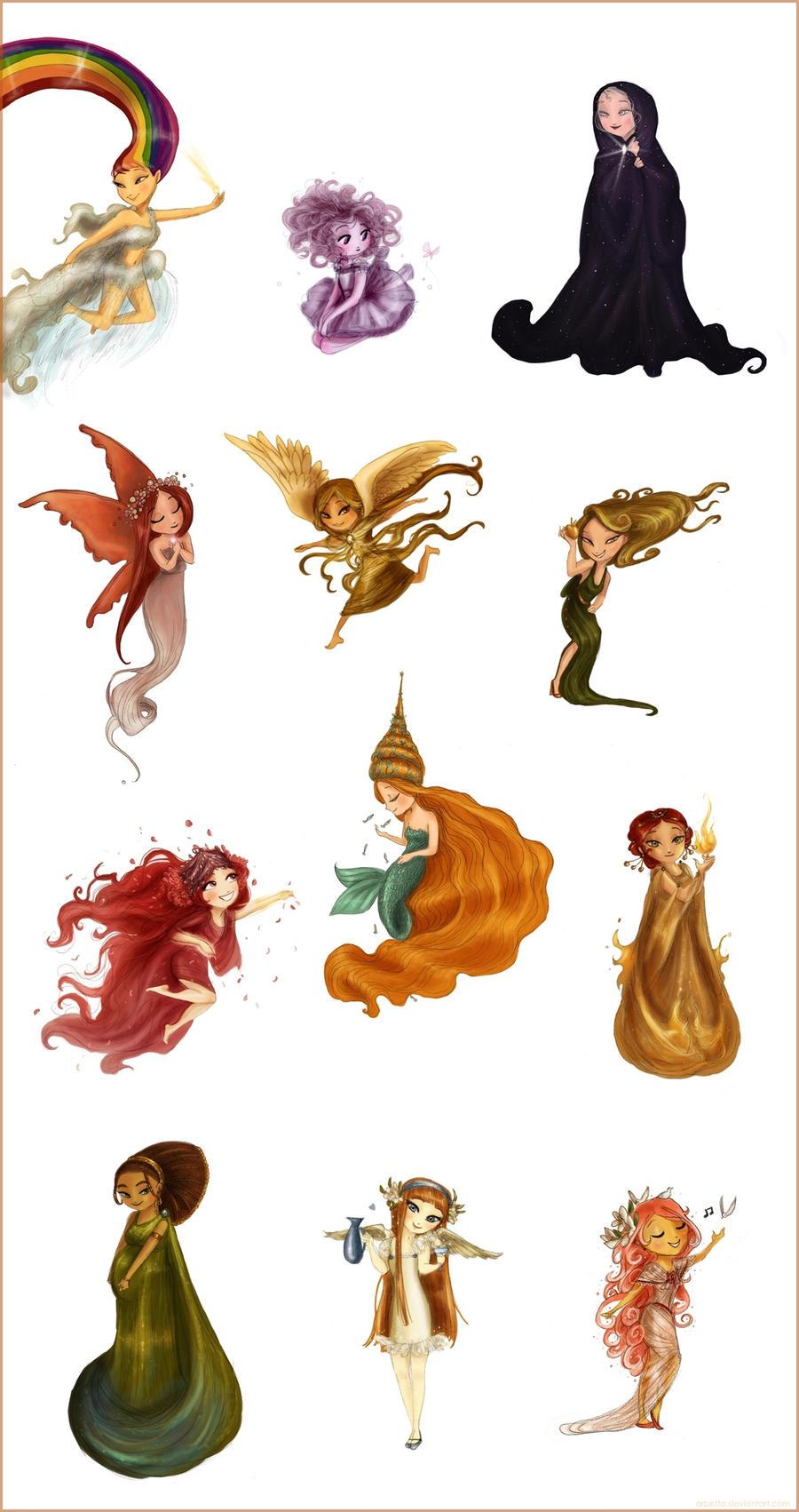 The twelve chibi goddesses left... by Arbetta
