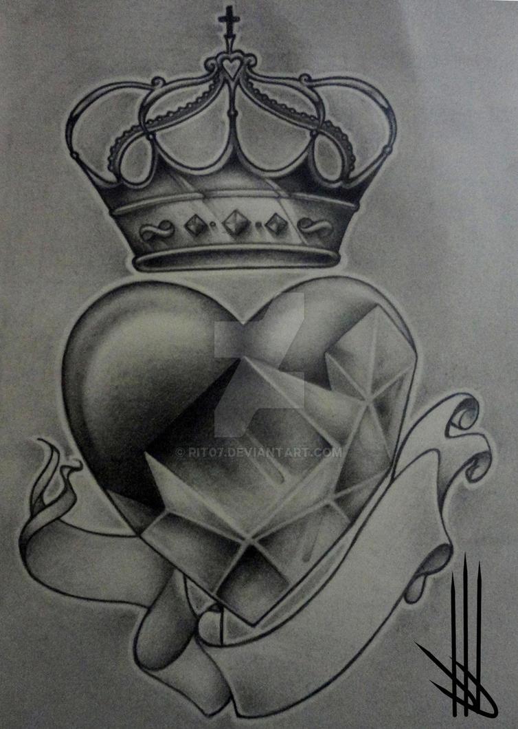 Diamond Heart Drawing Tattoo