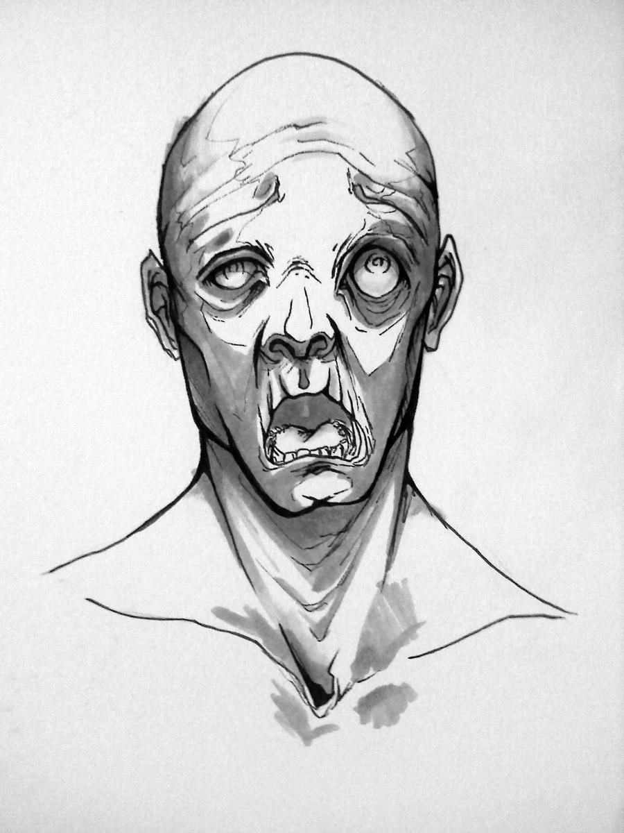 Zombie Face Line Drawing : Zombie face by h leigh on deviantart