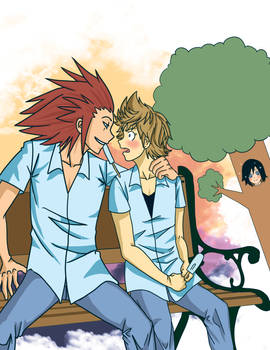 Axel, Roxas, and Xion the sneaky tree