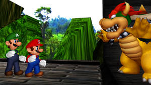 [MMD] Mario Bros vs Bowser on Battle Bridge