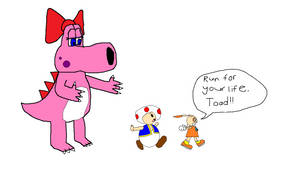 Toad and Cream Running Away from Birdo