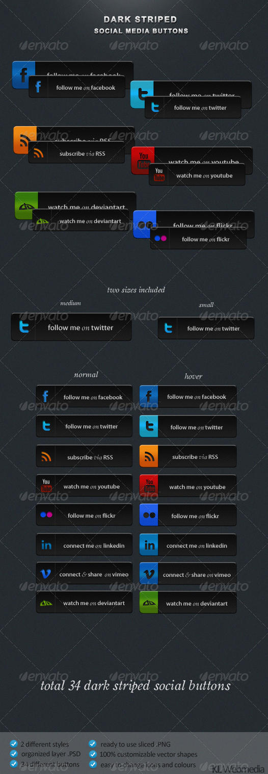 Dark Striped Social Buttons by KL-Webmedia