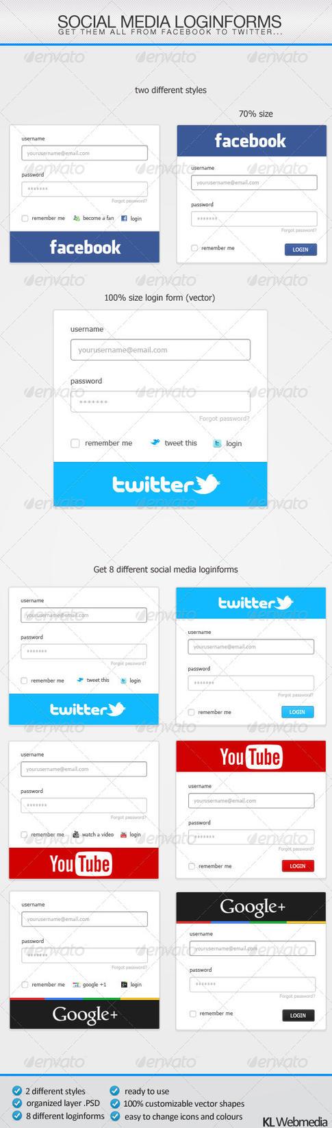 Social Media Loginforms by KL-Webmedia