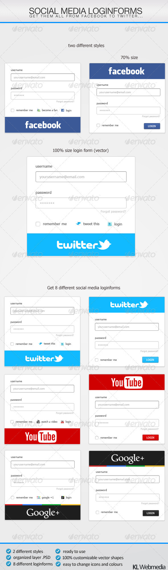 Social Media Loginforms by KL-Webmedia