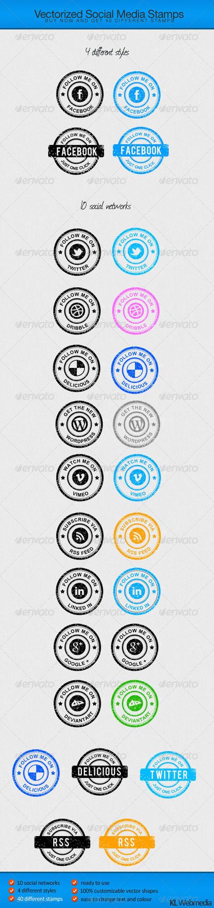 40 Social Media Stamps by KL-Webmedia