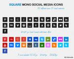 Square Mono Social Media Icons