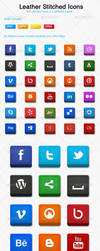 Leather Stitched Social Icons by KL-Webmedia