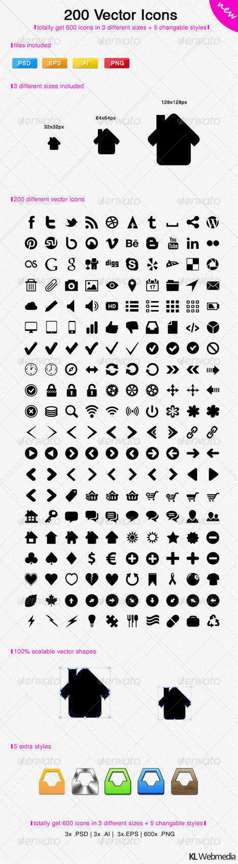 200 Vector Icons by KL-Webmedia