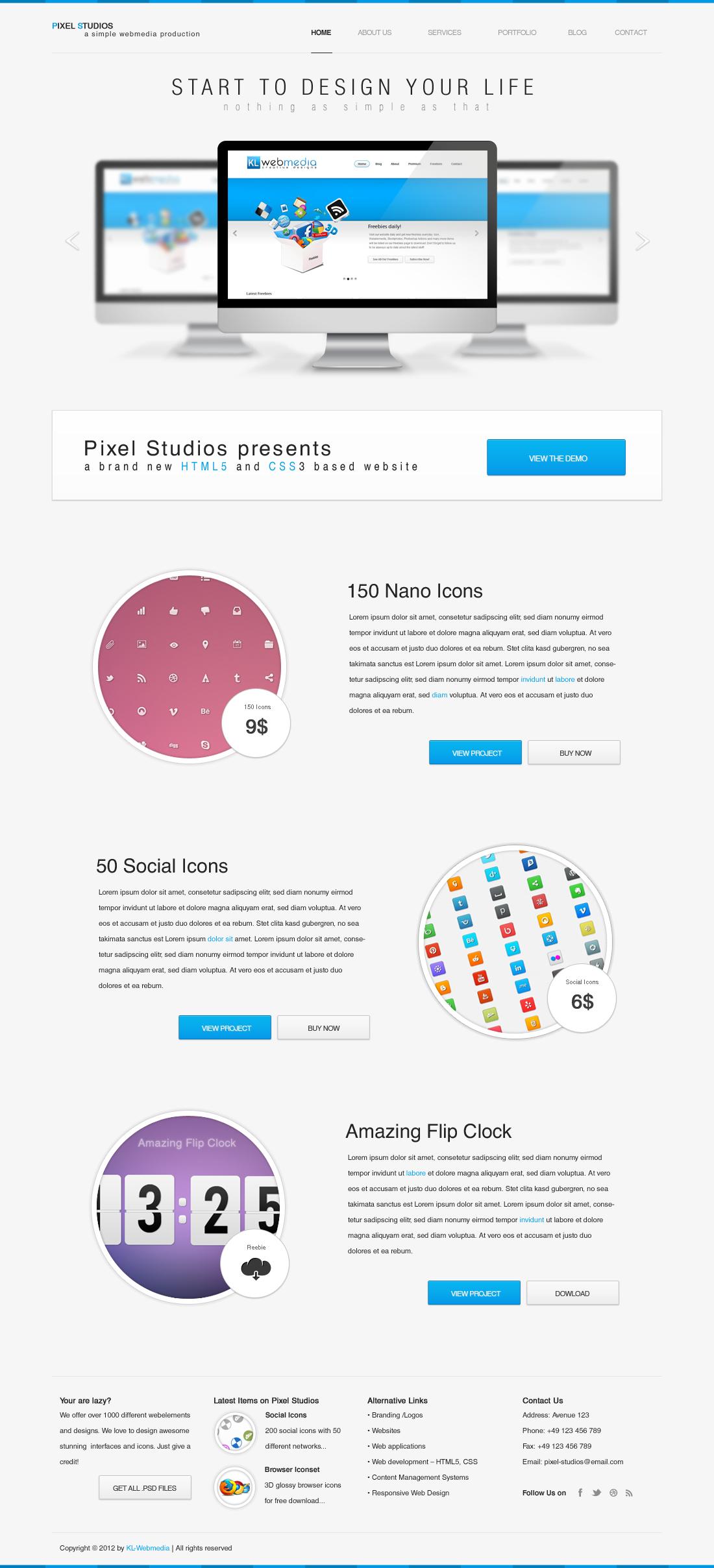 Pixel Studios PSD template by KL-Webmedia
