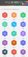 50 Flat Hexagon Icons