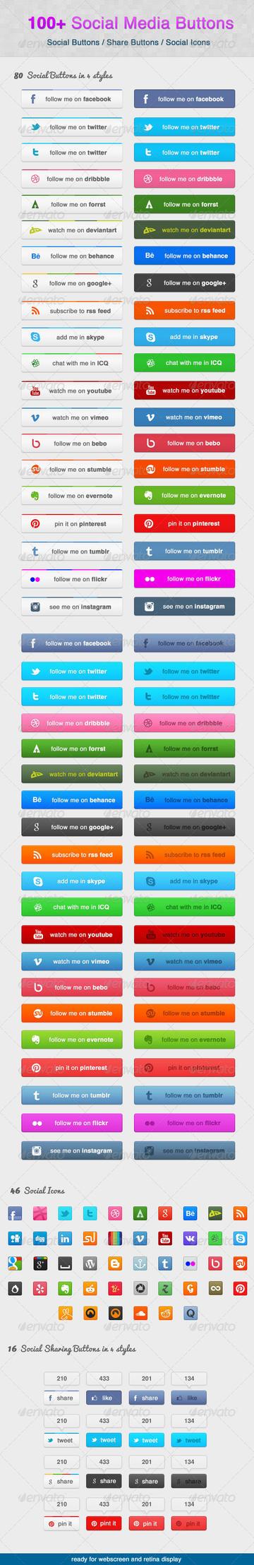 100 Social Media Buttons by KL-Webmedia