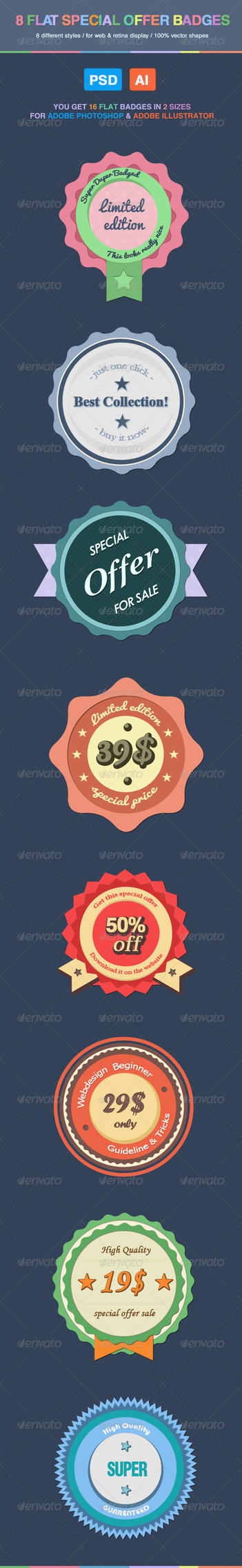Flat Special Offer Badges by KL-Webmedia