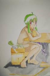 Shana in a caf
