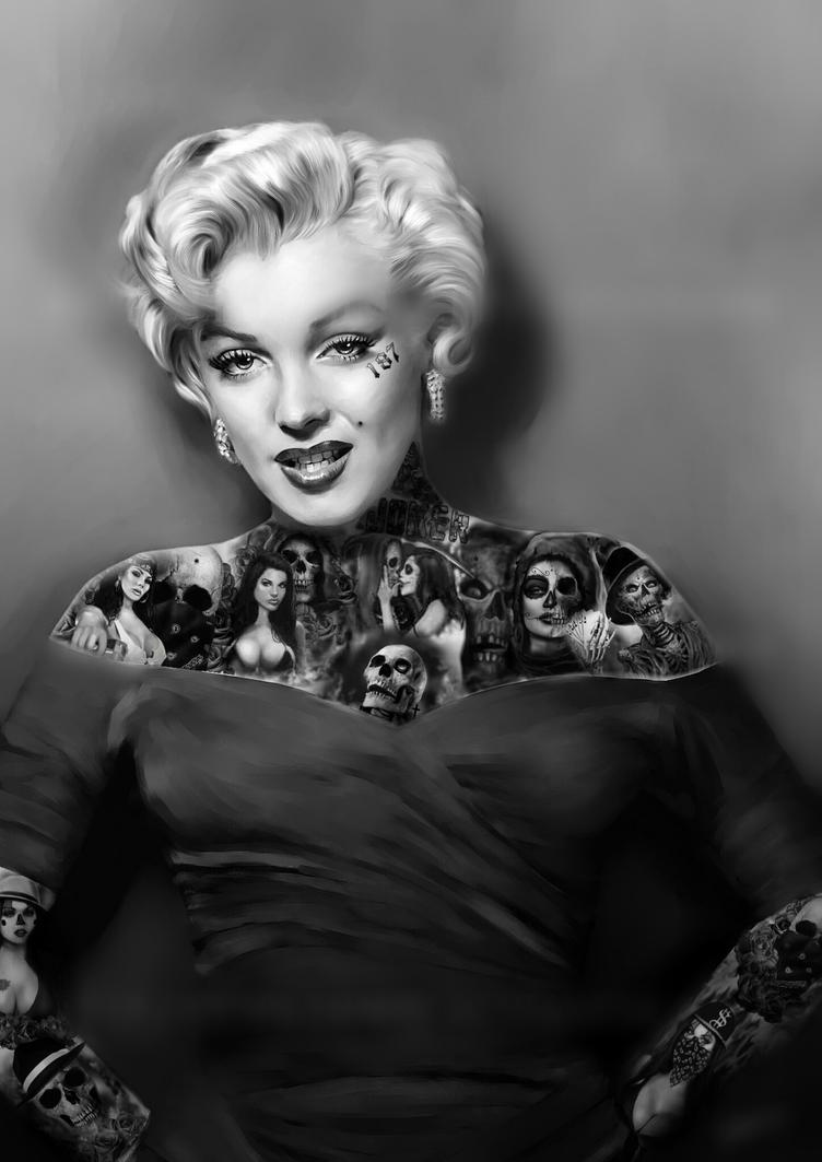 Marilyn monroe tat 39 d by s creighton by screighton on for Marilyn monroe with tattoos poster