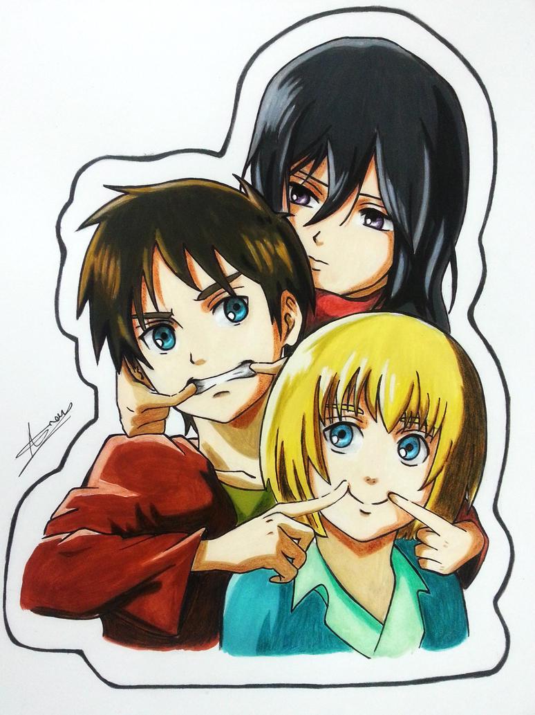 Mikasa,Eren and Armin by Anan-MaQsoud