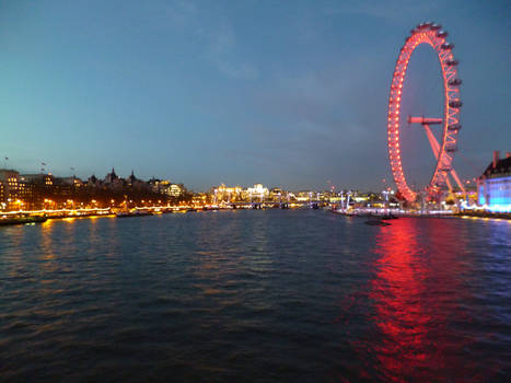 London Eye and River Thames at night - 2016
