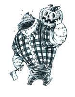 Inktober Undead Zombie Lumberjack