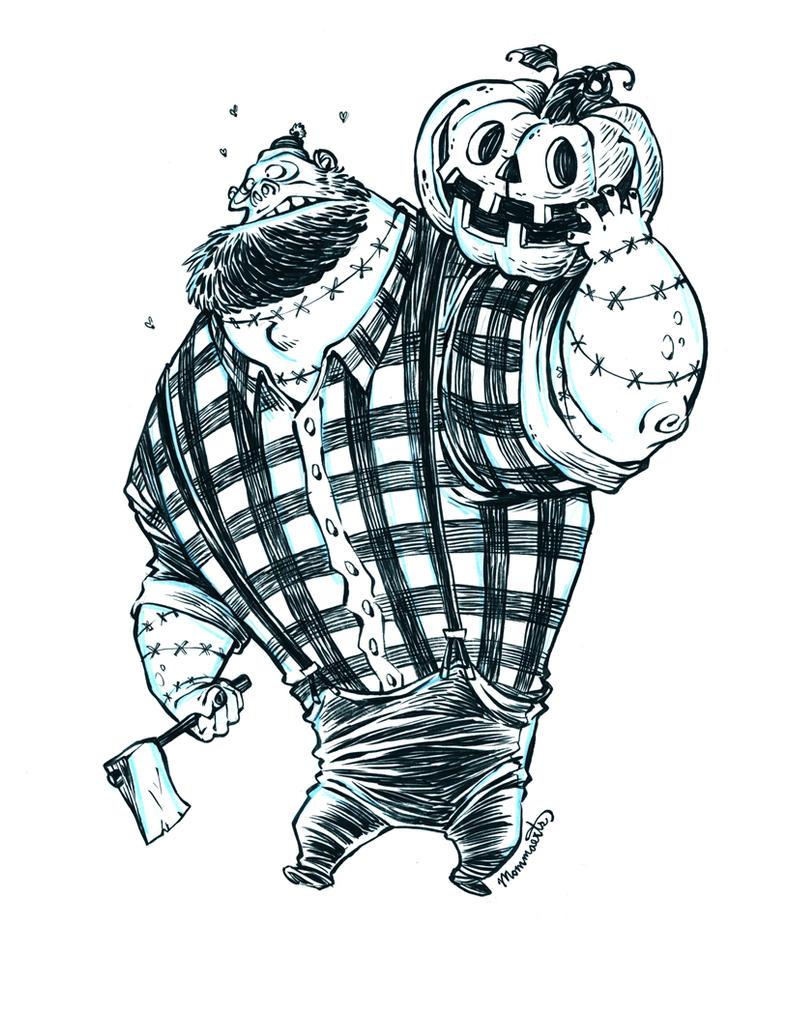 Inktober Undead Zombie Lumberjack by RobbVision