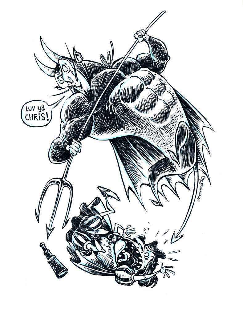 Inktober The Devil and Chris by RobbVision