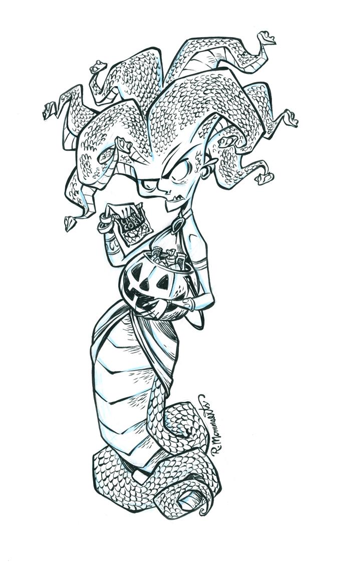 Inktober Gorgon #17 by RobbVision