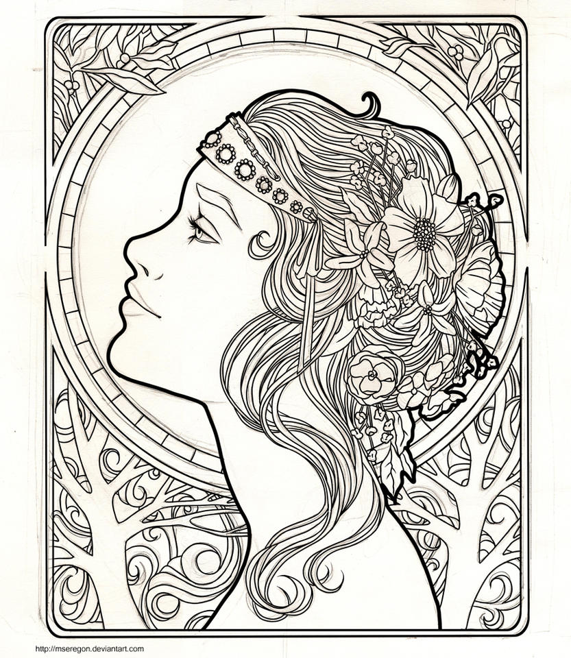 Wip art nouveau by mseregon on deviantart for Art deco coloring pages for adults