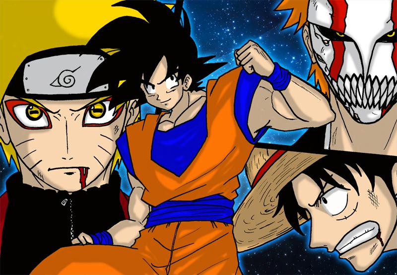 Goku VS Naruto Ichigo Luffy by Graxile