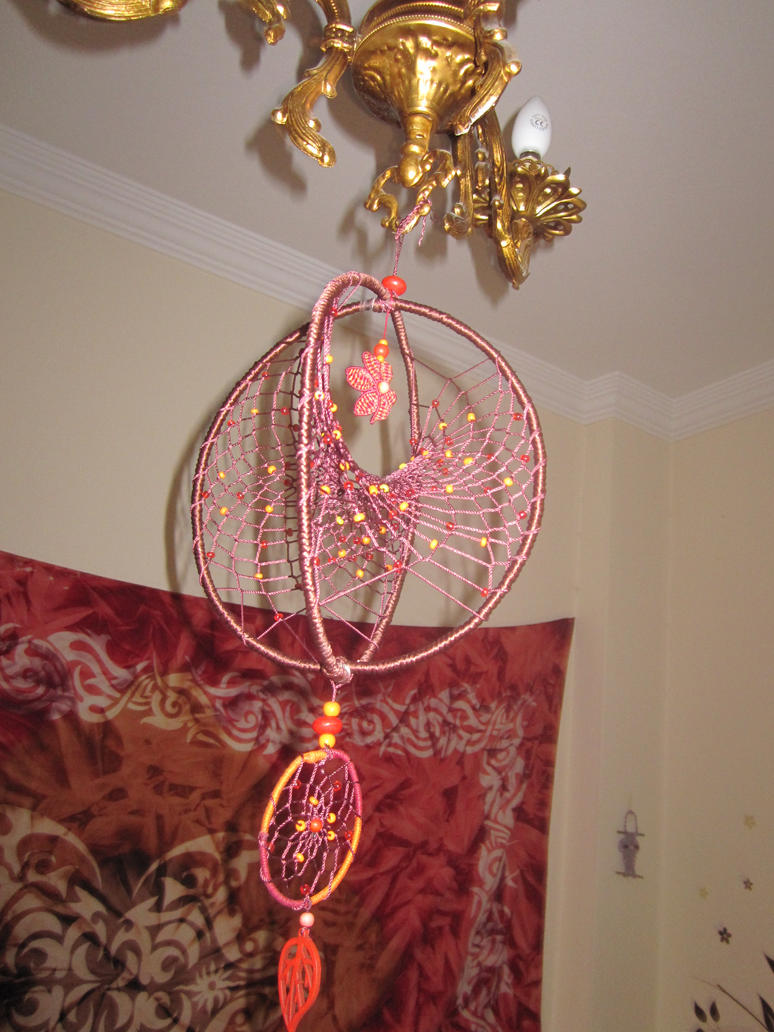 Double dreamcatcher with macrame by ursulaa on deviantart for How to make a double ring dreamcatcher