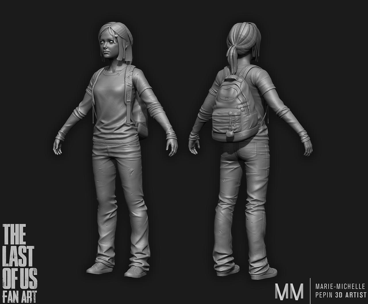 Ellie from The last of us fanart, zbrush sculpt by Azraele