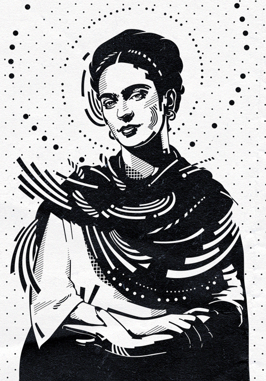 Frida Kahlo Artwork Black And White