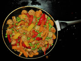 Pad-Thai Stir Fry with Mild Italian Sausage by Kajm