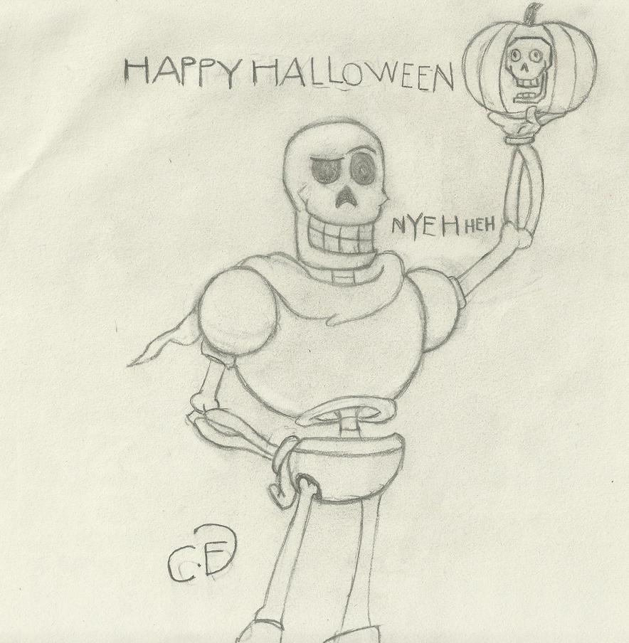 Papyrus wishing you a  Bonetacular Halloween by Cogs-Fixmore