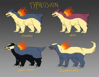 Typhlosion variants by DrFoxes