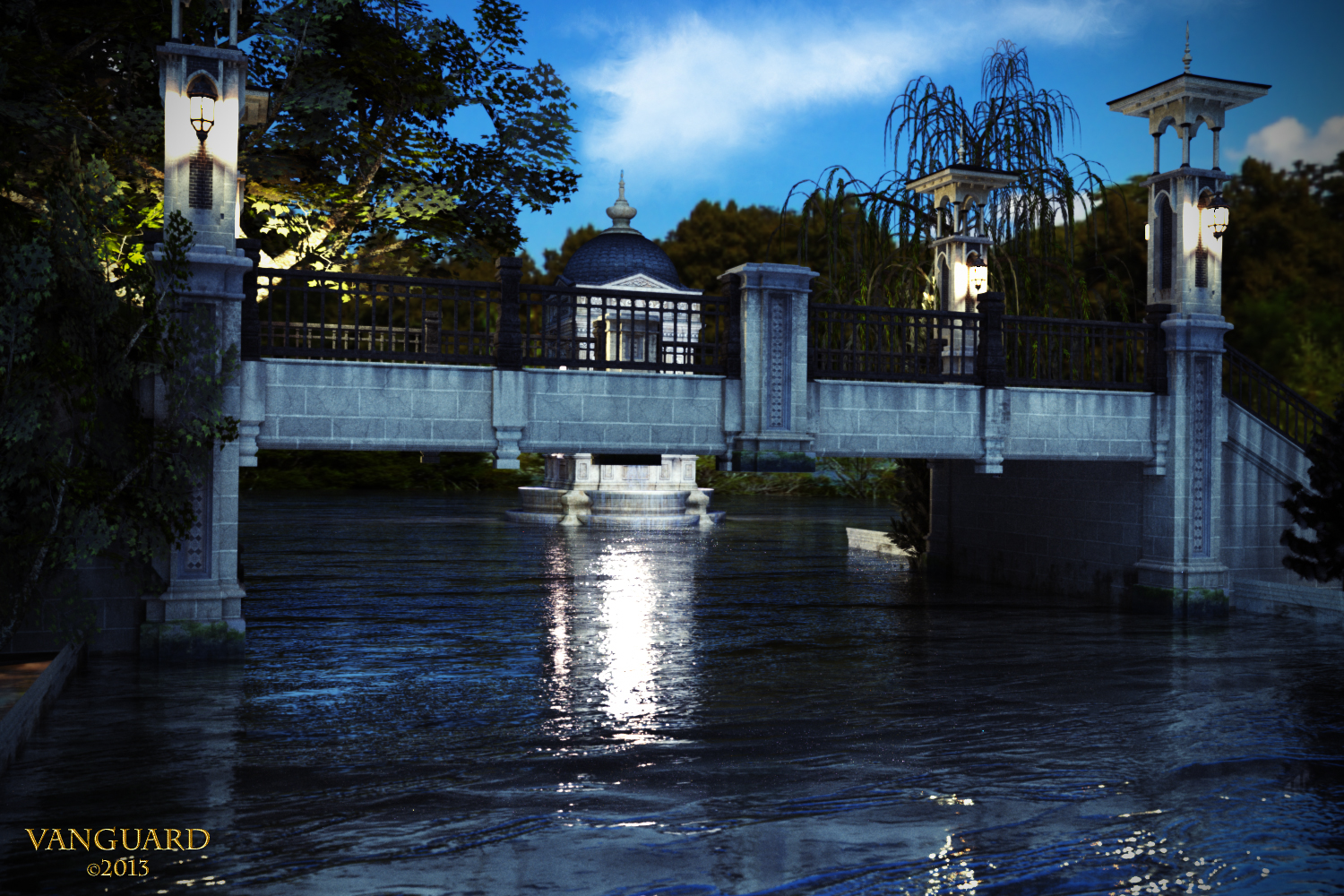Park-Bridge-at-Dusk by Vanguard-Studio