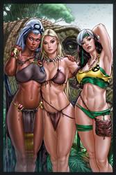 Storm_ Shanna_Rogue_Savage Land_colors by vic55b