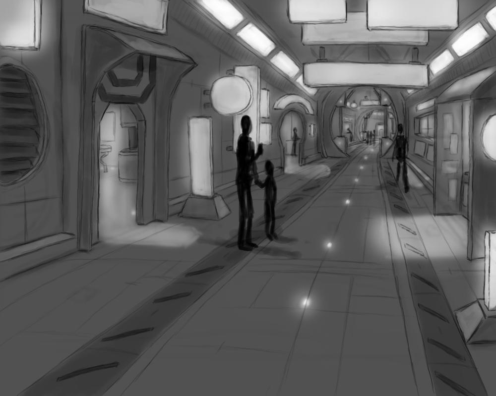 Sci Fi Hallway by Alex-Porteous
