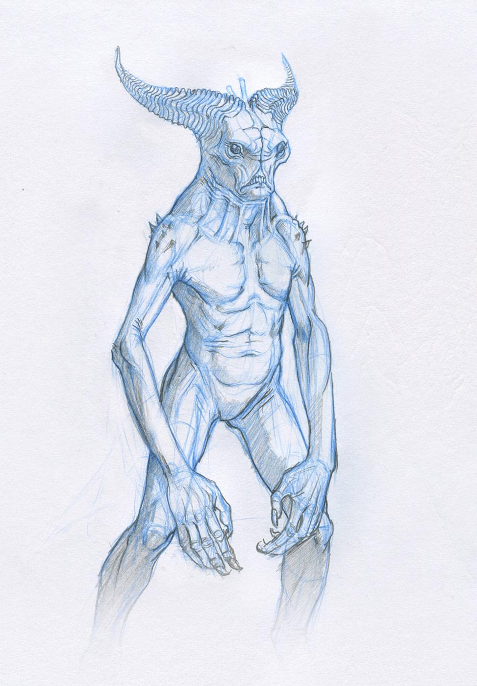 demon sketch by Mavros-Thanatos