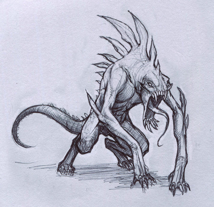 Reptile creature by mavros thanatos on deviantart for How to draw cool creatures