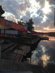 Sunset at the boatshed