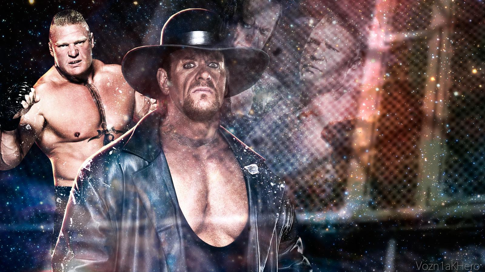 The Undertaker Vs Brock Lesnar HIAC Match 2015 Wp By Vozn1akHero