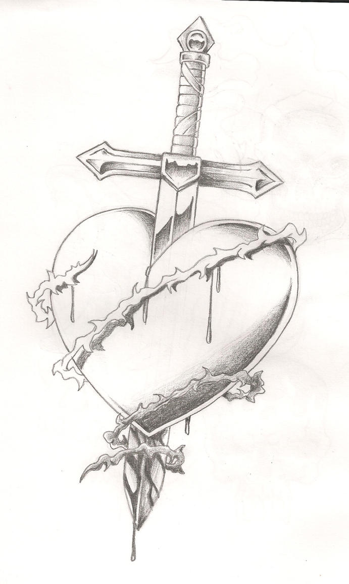 Heart Tattoos with Swords