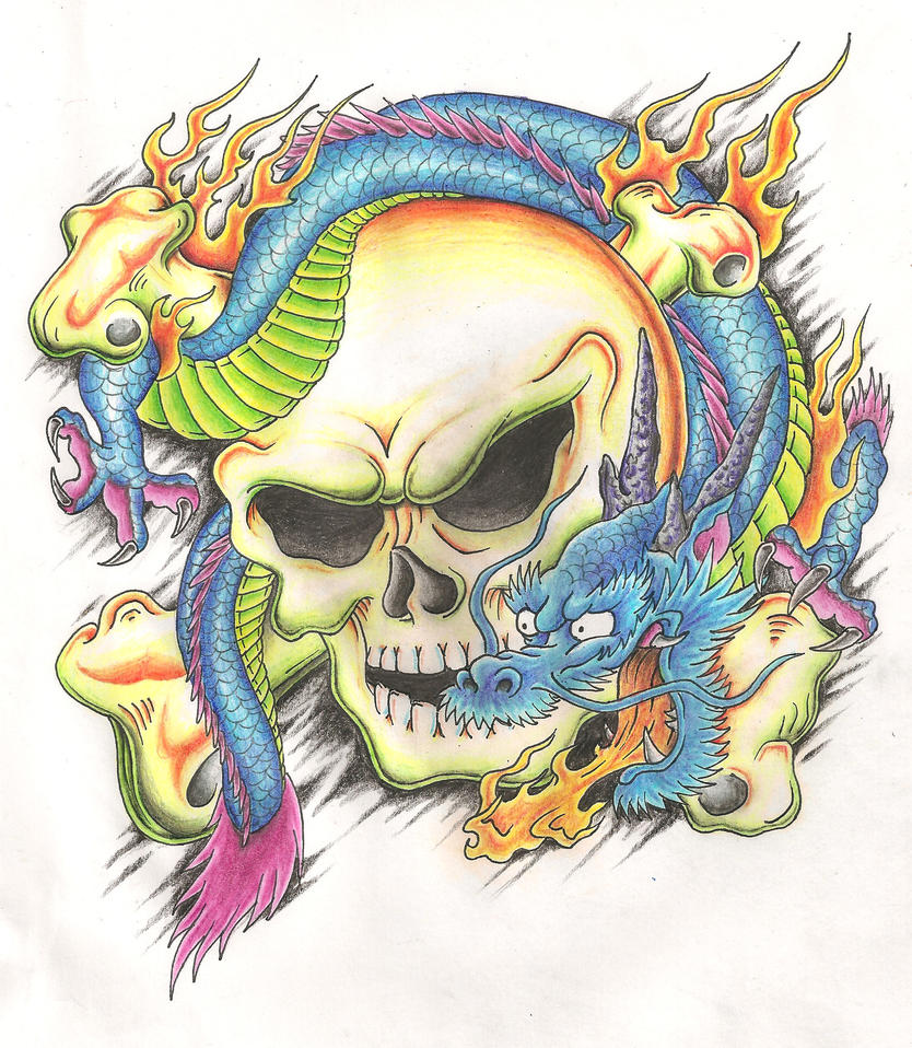Dragon skull tattoo design by Mr-P-P-Hed