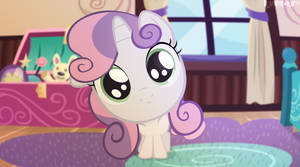 Sweetie Belle is looking into the camera